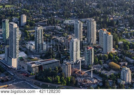 Greater Vancouver, British Columbia, Canada - May 16, 2021: Aerial View From An Airplane Of Surrey C