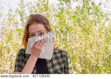 Season Allergy To Flowering Plants Pollen. Young Woman With Paper Handkerchief In Hand Covering Her
