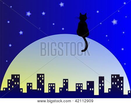 Abstract night city illustration