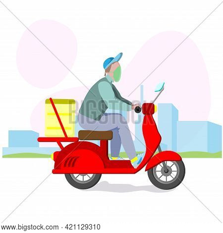 Food Delivery Man With Yellow Backpack On A Scooter On The Way To Deliver Food. Fast Courier Deliver