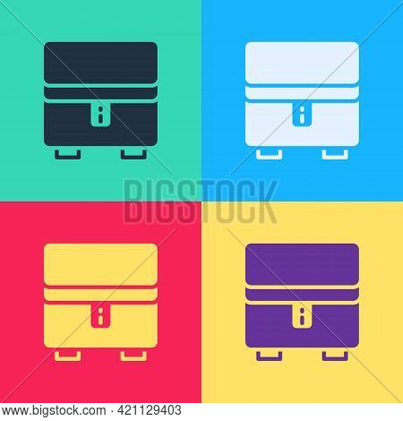Pop Art Jewelry Box Icon Isolated On Color Background. Casket With Jewelry. Vector
