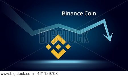 Binance Coin Bnb In Downtrend And Price Falls Down. Crypto Coin Symbol And Down Arrow. Uniswap Crush