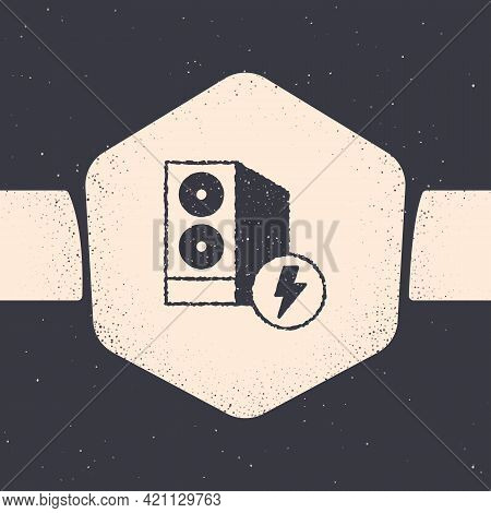 Grunge Case Of Computer Icon Isolated On Grey Background. Computer Server. Workstation. Monochrome V