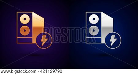 Gold And Silver Case Of Computer Icon Isolated On Black Background. Computer Server. Workstation. Ve