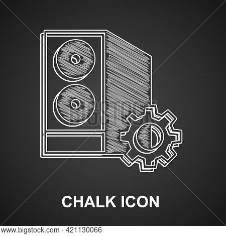 Chalk Case Of Computer Setting Icon Isolated On Black Background. Computer Server. Workstation. Adju