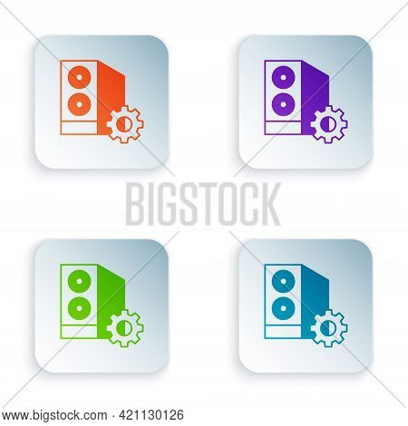 Color Case Of Computer Setting Icon Isolated On White Background. Computer Server. Workstation. Adju
