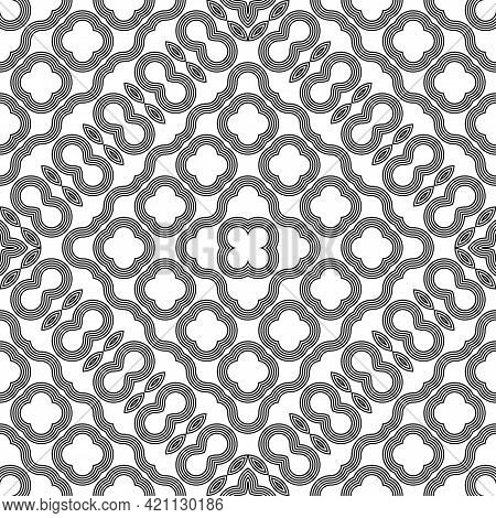 Design Seamless Decorative Lacy Pattern. Abstract Geometric Monochrome Background. Vector Art
