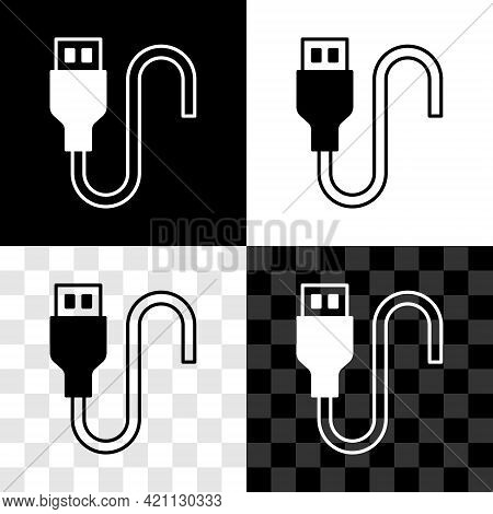 Set Usb Cable Cord Icon Isolated On Black And White, Transparent Background. Connectors And Sockets