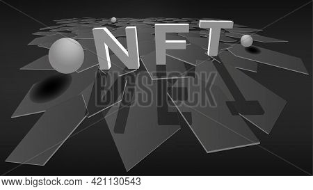 3d Nft Non Fungible Token On Stylish Polygonal Background With Plane Of Hexagons And Balls. Pay For