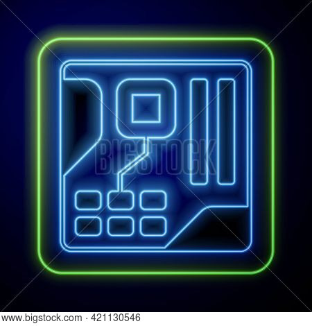 Glowing Neon Electronic Computer Components Motherboard Digital Chip Integrated Science Icon Isolate
