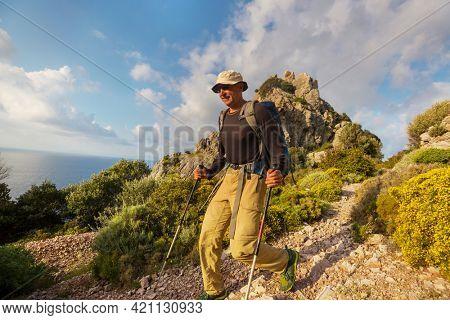 Beautiful landscapes on the Carian trail. Aegean Sea, Turkey.