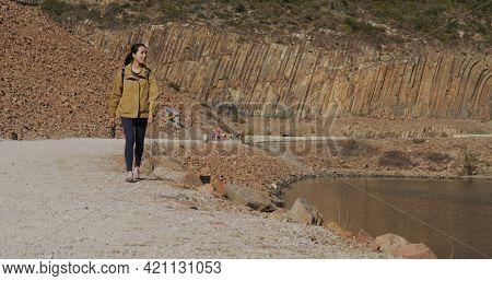 Woman visit Hong Kong Geographical Park in Sai Kung