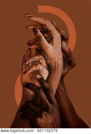Hands reaching up together, intertwined