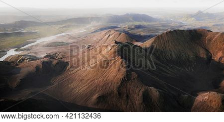 Aerial view of volcanic in Iceland