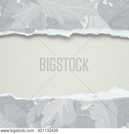 Torn paper mockup on a leafy background
