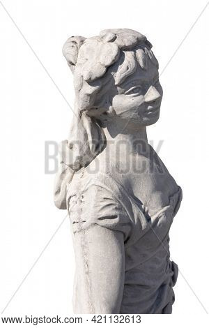 Close up of stone sculpture of woman on white background. art and classical style romantic figurative stone sculpture.