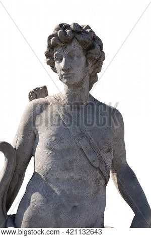 Stone sculpture of male hunter with archer's bag on white background. art and classical style romantic figurative stone sculpture.