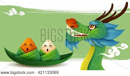 Dragon Boat Festival with rice dumpling cartoon character and dragon boat on abstract ink brush background.