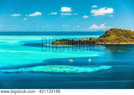 Bora bora Tahiti travel honeymoon destination luxury resort holiday aerial landscape in French Polynesia. Blue