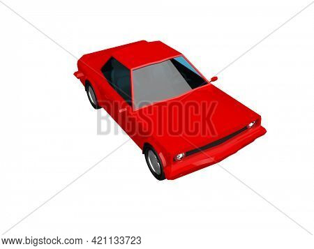 3D llustration Red Race Sport Car, SimpleCoupe City Auto Icon, Low Poly VehicleTransport Concept Isolated on White Background, Polygonal CarCoupe Symbol, Car Traffic Infographic Template