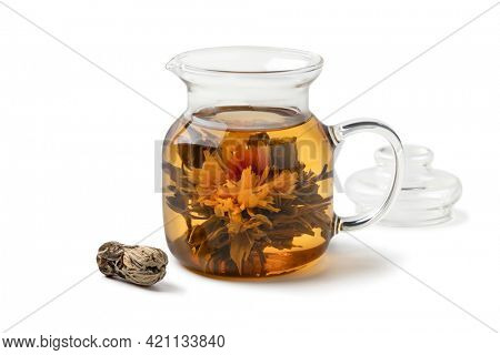 Asian dried tea flower growing in a teapot isolated on white background