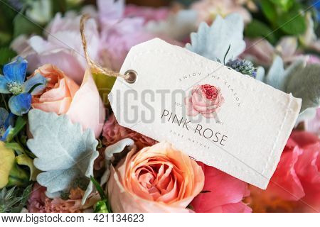 Bouquet of colorful flowers with a label mockup