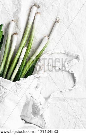 Natural fresh organic green scallions