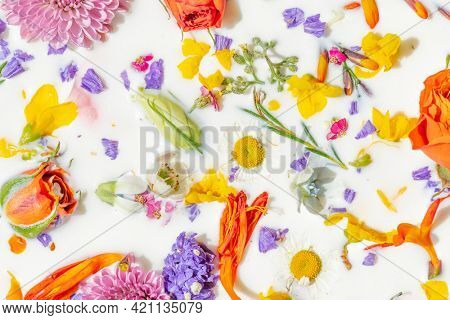 Colorful summer flowers in a milk bath background