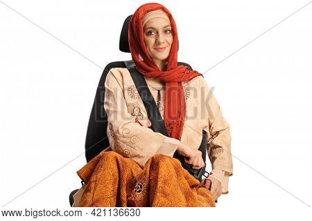 Young muslim woman in a car seat putting on a seatbelt isolated on white background