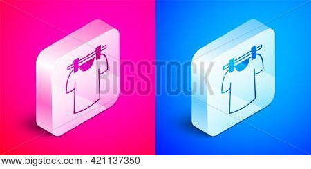 Isometric Drying Clothes Icon Isolated On Pink And Blue Background. Clean Shirt. Wash Clothes On A R