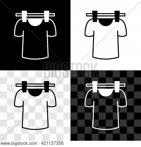 Set Drying Clothes Icon Isolated On Black And White, Transparent Background. Clean Shirt. Wash Cloth