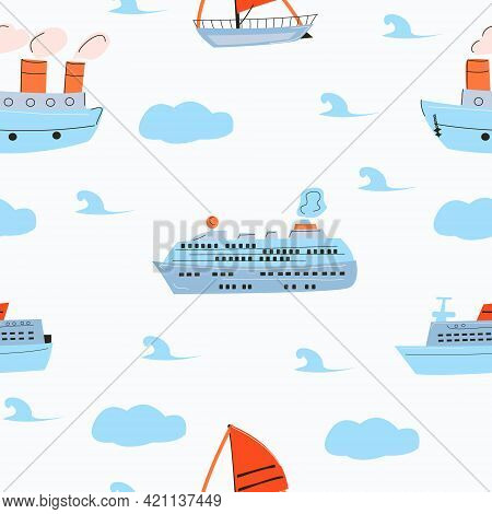 Seamless Pattern With Sea Ships And Sailing Ships And Cruise Liner With Blue Clouds And Waves.