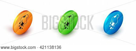 Isometric Drying Clothes Icon Isolated On White Background. Clean Shirt. Wash Clothes On A Rope With