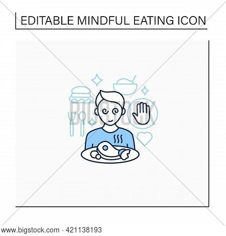 Mindful Eating Line Icon. Unconscious Nutrition. Overeating. Eat Without Being Hungry. Healthcare Co
