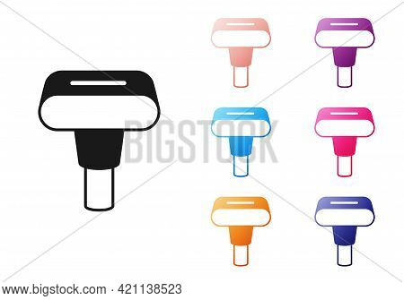 Black Portable Home And Travel Garment Steamer For Clothes Icon Isolated On White Background. Set Ic