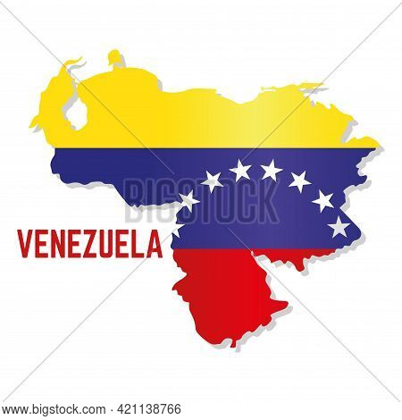 Isolated Map With Flag Of Venezuela Vector Illustration