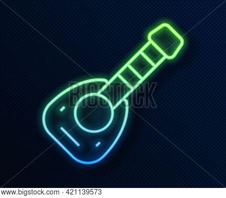 Glowing Neon Line Musical Instrument Lute Icon Isolated On Blue Background. Arabic, Oriental, Greek
