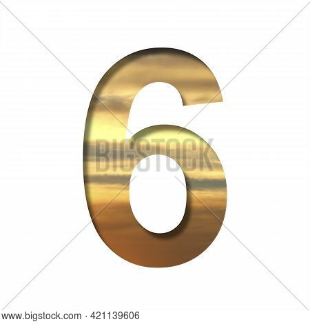 Font On The Sunset Sky. The Digit Six, 6 Cut Out Of Paper On The Background Of The Colorful Sky At B