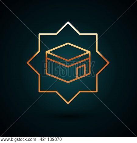 Gold Line Kaaba Mosque Icon Isolated On Dark Blue Background. Kaaba Hajj Mecca Pray Pilgrimage Ramad
