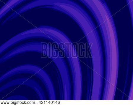 Abstract Fractal Design Art. Digital Endless Blue And Violet Arc On Black Background. Wave Pattern.
