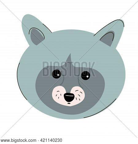 Raccoon Muzzle Illustration For Children. Various Animals Theme.