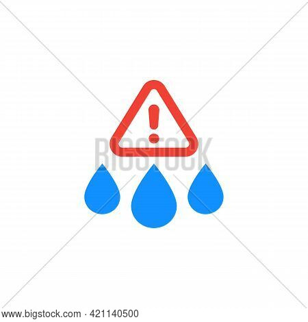 Water Contamination Alert Icon On White, Vector