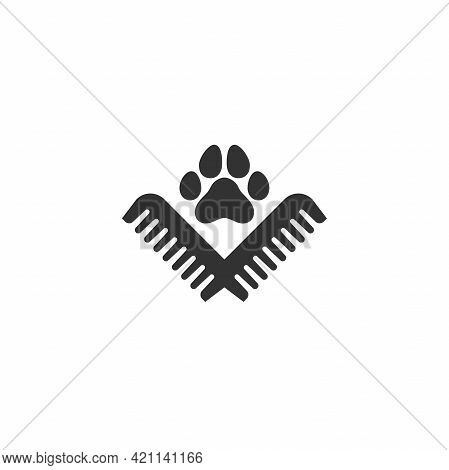Pet Grooming. Comb And Paw Trail. Animal Haircut, Combing And Grooming Pets. Salon Logo.