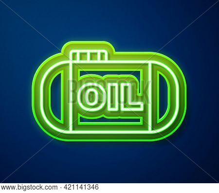 Glowing Neon Line Oil Tank Storage Icon Isolated On Blue Background. Vessel Tank For Oil And Gas Ind