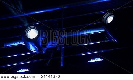 Spotlights And Projectors. Scene. Entertainment Concert Lighting And Purple And Blue Concert Lightin