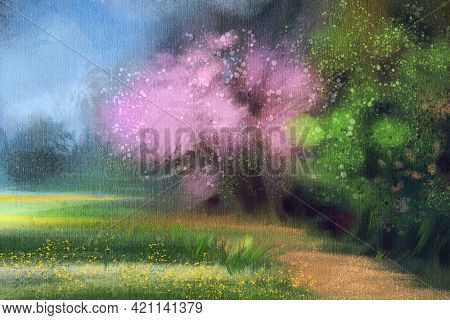 Abstract Impressionism. Spring Landscape With Blooming Apple Trees.  Modern Painting.  Hand-drawn Il