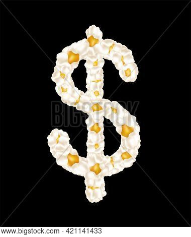 The Dollar Sign Made Up Of Airy Popcorn. Vector Illustration.