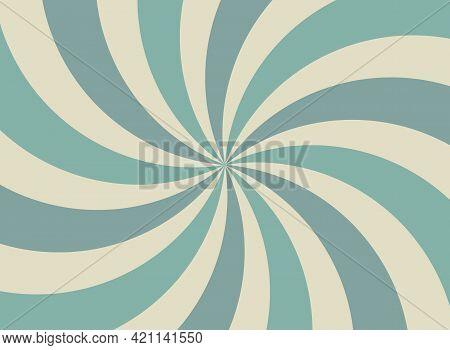 Sunlight Spiral Wide Background. Faded Blue And Beige Color Burst Background. Vector Illustration. S