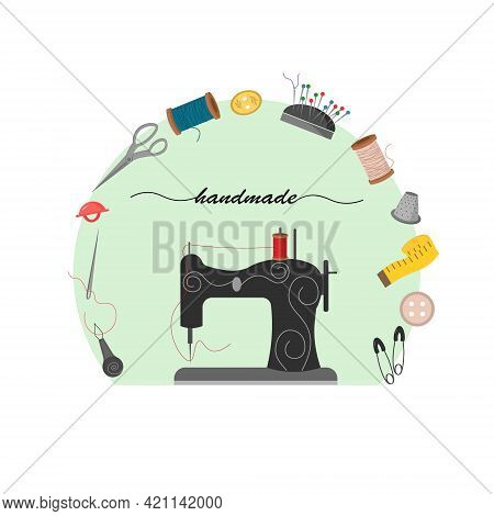 Illustration Of A Sewing Machine And Tools. Buttons, Spool Of Thread, Needle, Pin Cushion. Vector Il