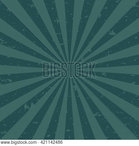 Sunlight Retro Scratched Grunge Background. Blue And Beige Color Burst Background. Vector Illustrati